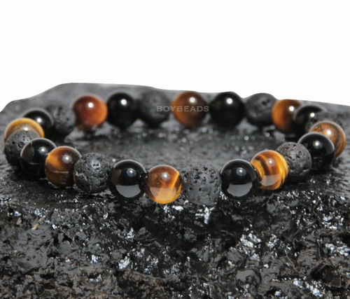 """Dallas Tiger"" BOYBEADS 8mm tiger eye, onyx, lava custom bead bracelet guys"