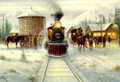 Leanin' Tree #C71196 Steam Train at Water Stop Christmas Cards