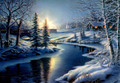 C73161 Traveling through the Evening Countryside Christmas Cards -Boxed Set