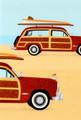 BDT29471 Birthday Card - Red Woody Wagon w Surf Board