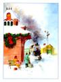 Christmas Train Watercolor Christmas Card - Single