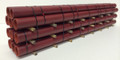 JWD #61681 General Purpose Red Pipe Load for 68' Bulkhead Flatcars (HO)