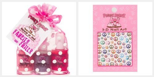 Piggy Paint 3 Nail Polish Set with BONUS Nail Stickers (Fancies and Frills)