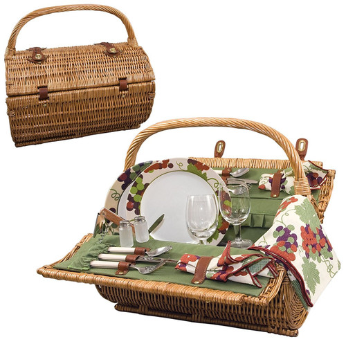 Picnic Time 'Barrel' Picnic Basket with Service for Two, Pine Green