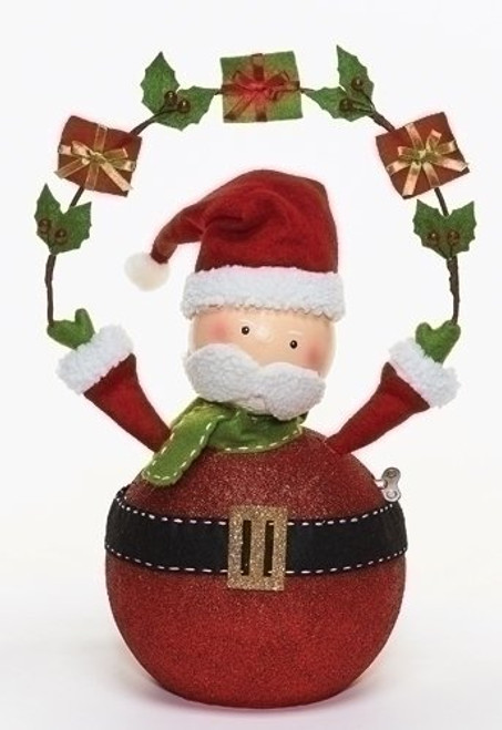 Roman Twirl N Tune Action Musical Santa Figurine with Gifts and Fun Wind Up Key, 17-Inch