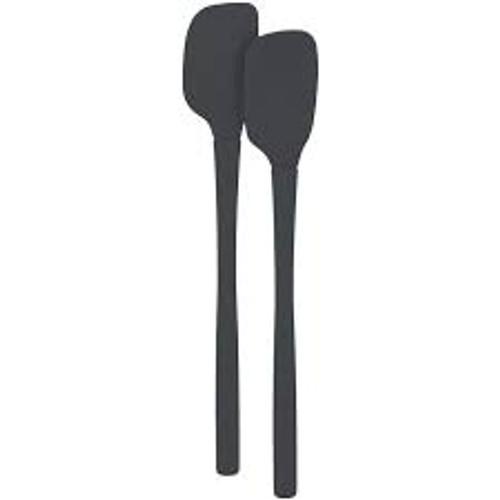 Tovolo Flex-Core All Silicone Mini Spatula & Spoonula, Charcoal - Set of 2