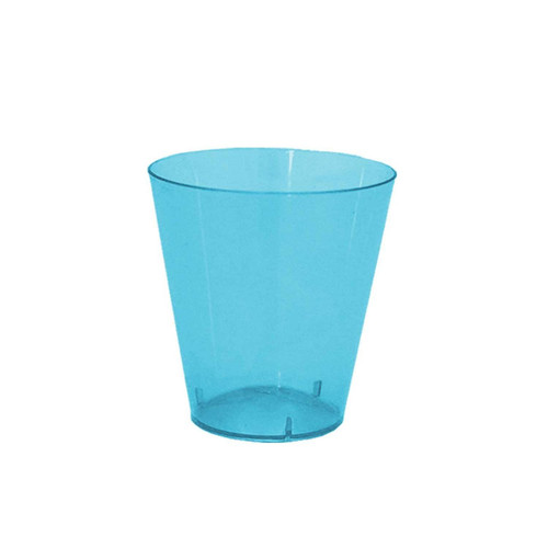 Party Essentials Hard Plastic 2-Ounce Shot/Shooter Glasses, Neon Blue, 50 Count