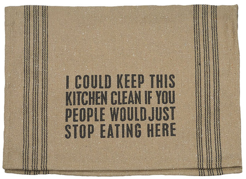 Primitives by Kathy Keep Kitchen Clean Tea Towel, 24 by 15-Inch