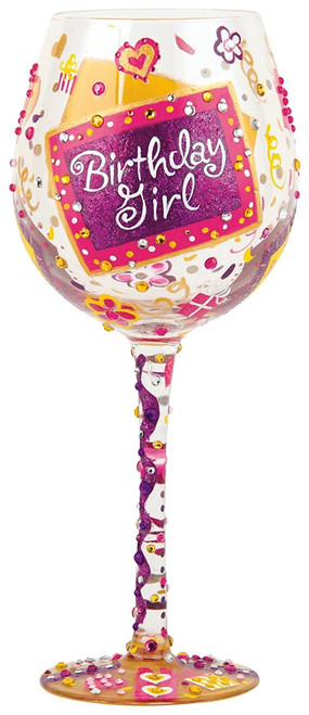 Enesco Presents Lolita Super Bling Collection Wine Glass, Birthday Girl
