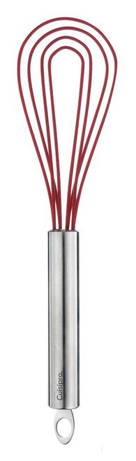 Cuisipro 10-Inch Silicone Flat Whisk, Red