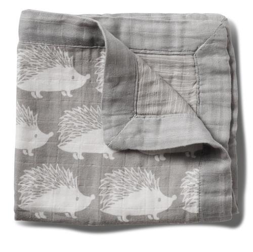 "Milkbarn Mini Lovey Baby Blanket - Grey Hedgehog 18"" X 18"""