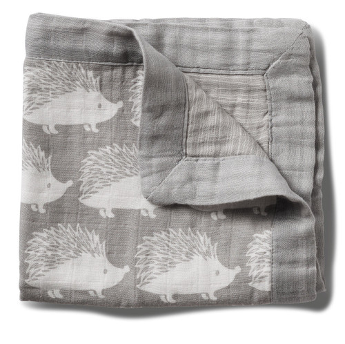 "Milkbarn Mini Lovey Baby Blanket - Grey Hedgehog 18"" X 18"""