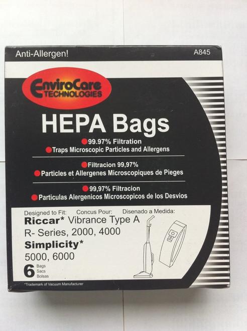 EnviroCare Technologies HEPA Bags Riccar Vibrance Type A R-Series, 2000, 4000, Simplicity 5000, 6000 Hepa Bags - 6 Bags