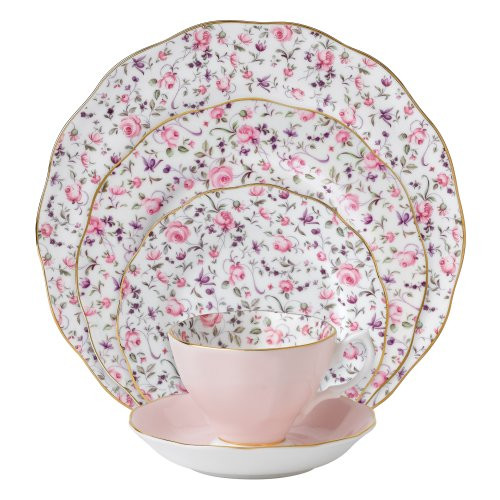 Royal Albert New Country Roses Rose Confetti Vintage Formal Place Setting, 5-Pc