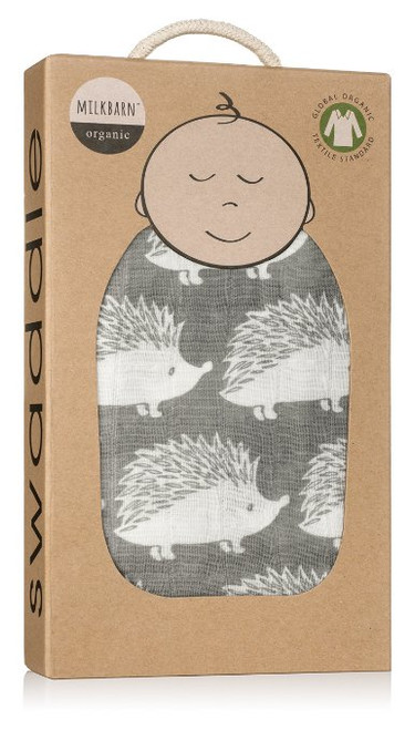 Milkbarn Organic Cotton Swaddle Blanket - Gray Hedgehog