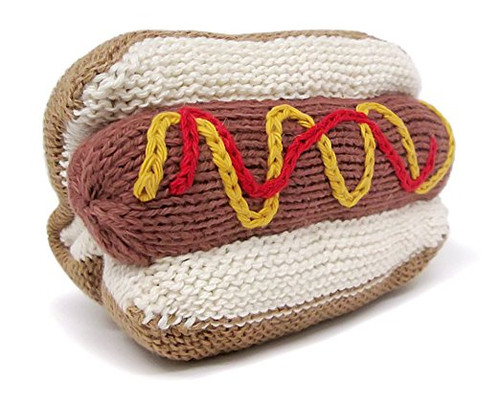 Estella Hand Knit Organic Hot Dog Rattle Baby Toy