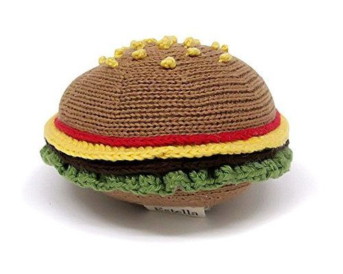 Estella Hand Knit Organic Hamburger Rattle Baby Toy