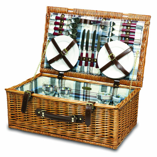 Picnic Time 'Newbury' Willow Picnic Basket with Deluxe Service for Four