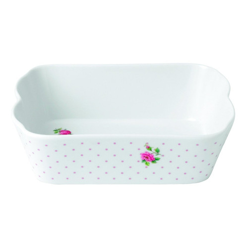 Royal Albert New Country Roses Baking Bliss Rectangular Baking Dish, 7.4-Inch, White