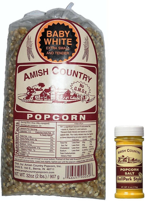 Amish Country Popcorn Baby White (2 Pounds with Butter Seasoning)