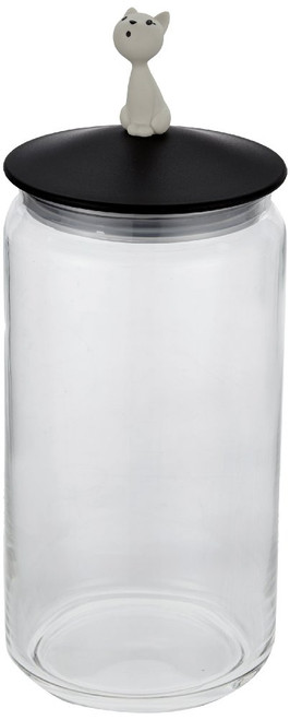 Alessi Mio Jar for Cat Food Black