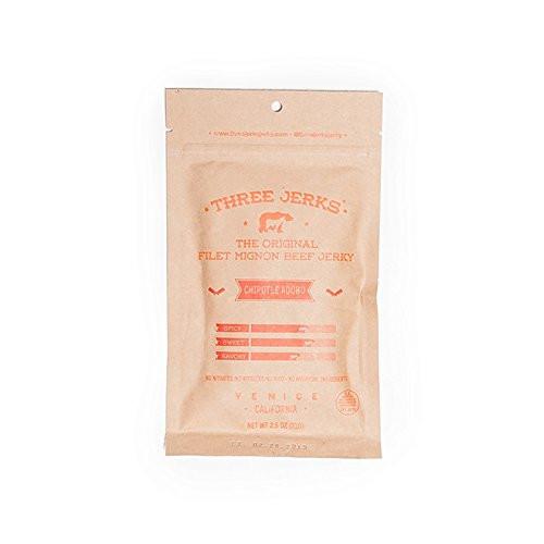 Three Jerks Filet Mignon Beef Jerky - Premium Natural Gourmet - 1 Bag of 2 oz - Chipotle Adobo
