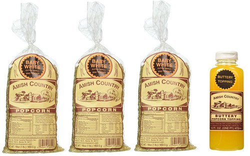 Amish Country Popcorn, Baby White (3 Pack) 1 lb each with Buttery Popcorn Topping (16 oz)