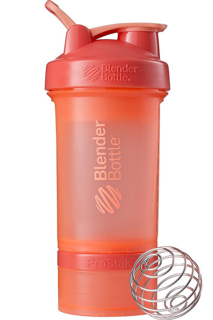 BlenderBottle ProStak System with 22-Ounce Bottle and Twist n' Lock Storage, Coral/Coral