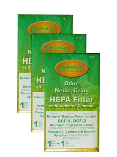 (3) Kenmore Bagless Pleated Tower HEPA w/activated Charcoal Filters & 2 caps, Upright bagless, Sears 300 Series, Panason