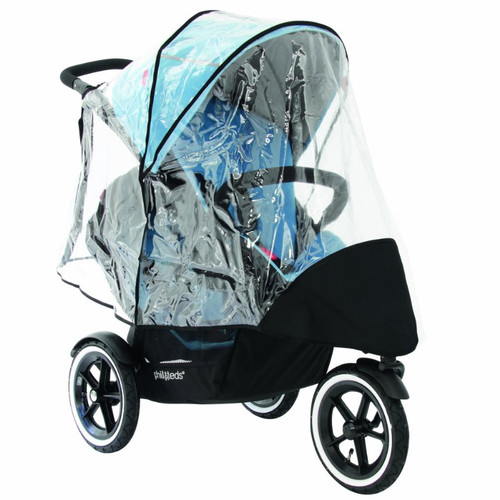 phil&teds Stormy Weather Cover for Double Navigator Stroller, Clear
