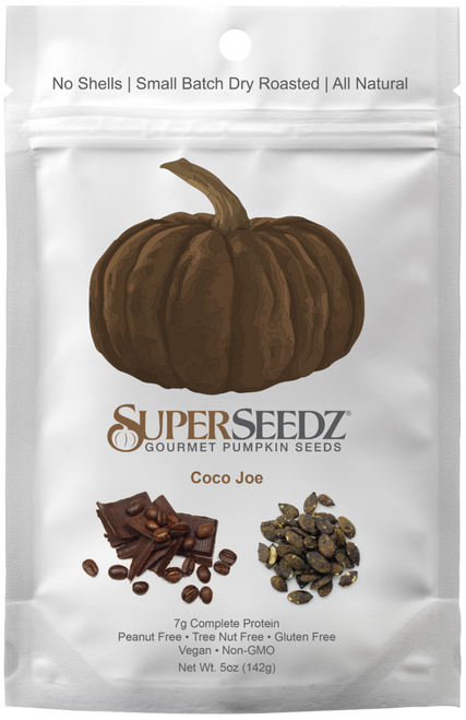 Super Seedz - Gourmet Roasted Pumpkin Seeds, 5 Ounce Package (Pack of 2) Coco Joe - Non Gmo, Vegan and Gluten-Free Snack