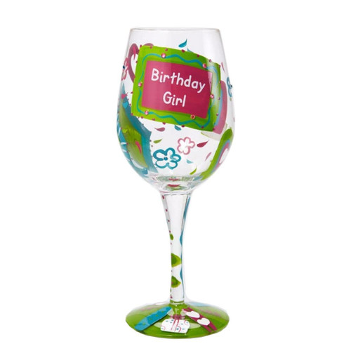 Lolita Birthday Girl Artisan Hand Painted Wine Glass