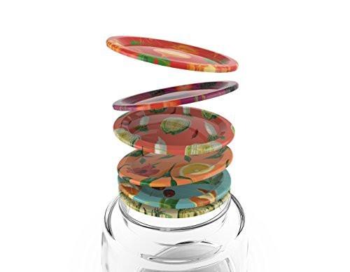 Mortier Pilon Food Pattern Design Mason Jar Lids (Set of 12)