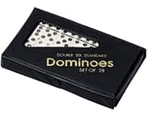 Double 6 Classic Dominoes Game with Spinners in Vinyl Case, Ivory
