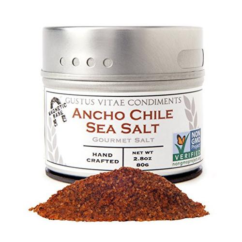 Gustus Vitae Ancho Chile Sea Salt, 3.1 Ounce,Gourmet Salt