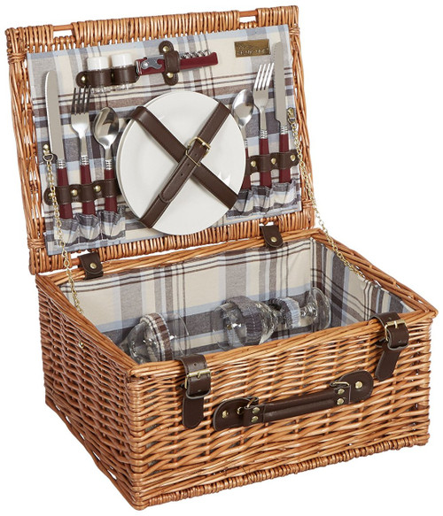 Picnic Time 'Bristol' Willow Picnic Basket with Deluxe Service for Two