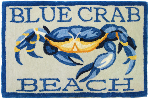 Homefires Accents Blue Crab Beach Indoor Rug, 22-Inch by 34-Inch