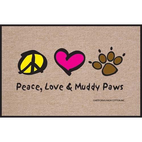 High Cotton Peace Love Paws Indoor / Outdoor Doormat