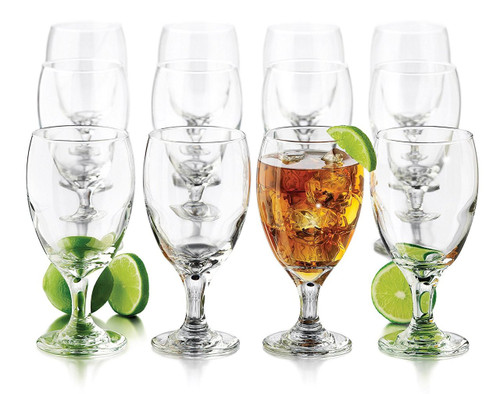 Libbey 12-Piece Goblet Party Glass, 16.25-Ounce, Clear