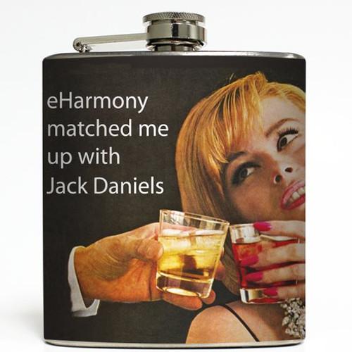 eHarmony Match - Jack Daniels Flask - Liquid Courage Flasks - 6 oz. Stainless Steel Flask