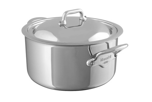 Mauviel M'Cook 5 Ply Stainless Steel 5231.25 6.4-Quart Stewpan with Lid, Cast Stainless Steel Handle