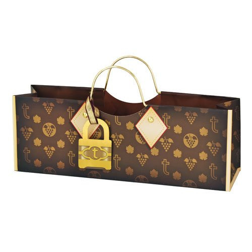 Revel Paper 2891 True Logo Single Bottle Paper Purse Bag, Brown