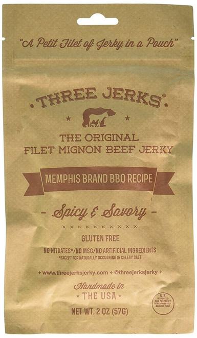 Three Jerks Filet Mignon Beef Jerky - Premium Natural Gourmet Memphis BBQ (Memphis BBQ, 1 Package)