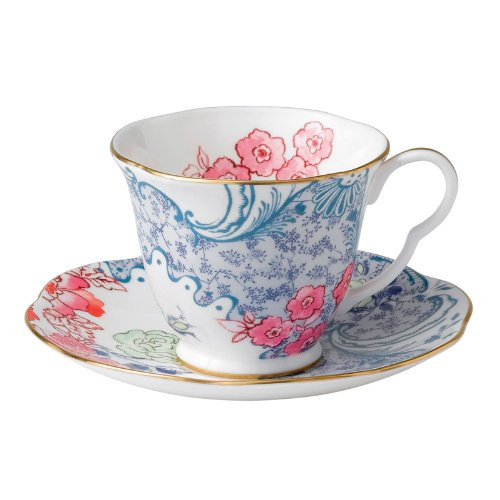 Wedgwood Harlequin Butterfly Bloom Cup and Saucer, Blue Peony