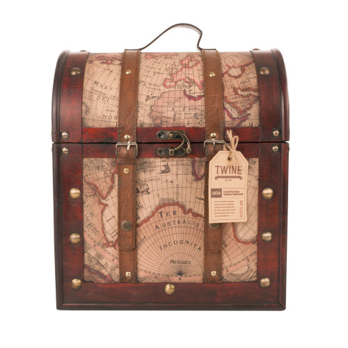Chateau 6 Bottle Old World Wooden Wine Box by Twine