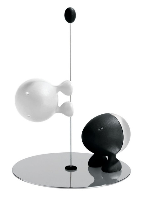 A Di Alessi Lilliput Salt And Pepper Set - Black/White