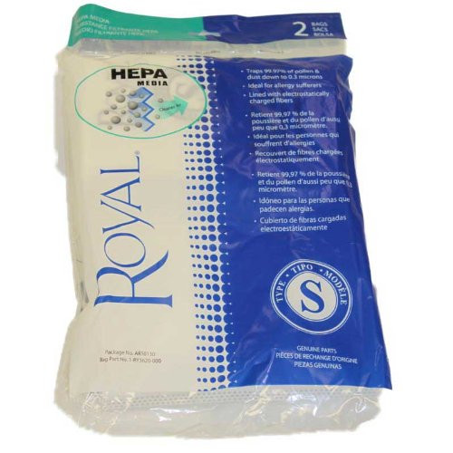 2 Royal RY4000 Backpack Style S AR10130 HEPA Filtration Premium Allergen Filtration Vacuum Cleaner Bags, Part AR10130, R
