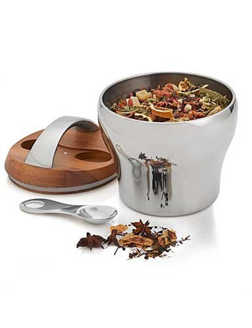 Nambe Bulbo Tea Canister with Scoop, Silver