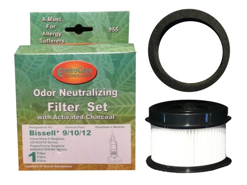 (1 Sets) Bissell Bagless Upright Vacuum Cleaner Style 9/10/12 Hepa Pleated Micro Inner Filter and Outer Foam Filter 3206