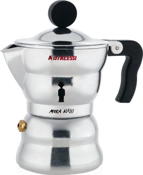 "Alessi AAM33/1 ""Moka"" Stove Top Espresso Coffee Maker in Aluminium Casting Handle And Knob in Thermoplastic Resin, Black"
